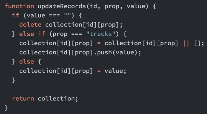 record collection function from FCC tutorial